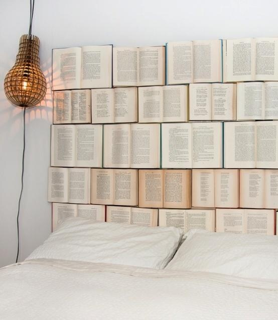Headboard made of books