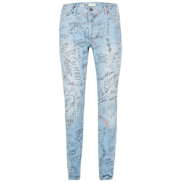 TOPMAN Light Wash Blue Doodle Stretch Skinny Jeans ($56) ❤ liked on Polyvore featuring men's fashion, men's clothing, men's jeans, blue, mens skinny jeans, mens stretchy jeans, mens light wash jeans, mens stretch jeans and mens stretch skinny jeans