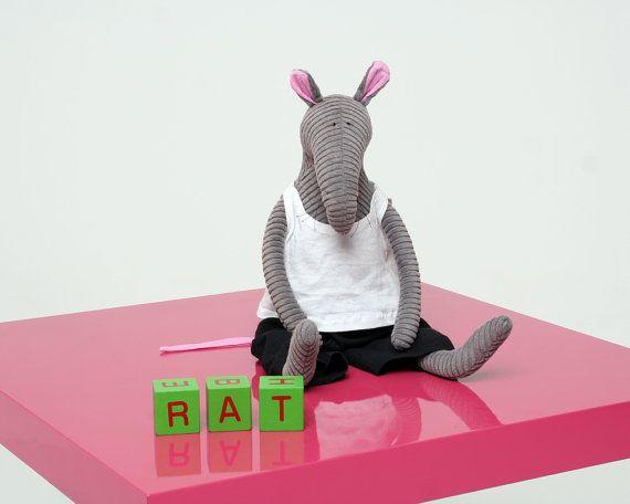 Rat dude stuffed animal, Grey Corduroy Rat - $31.00