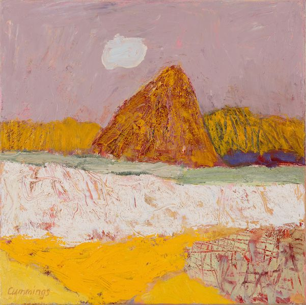'The Golden Mountain' (2015) by Australian artist Elisabeth Cummings (b.1934). Oil on canvas, 45 x 45 cm. via King Street Gallery