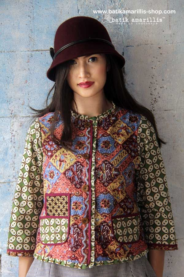 batik amarillis's parisian walkways jacket www.batikamarilli... ..add polish to your tailored wardrobe! such fitted and chic jacket with quirky twist! accented with panelled detailing & contrast trims plus 3 quirky pockets! in such lovely batik Cirebon of Indonesia