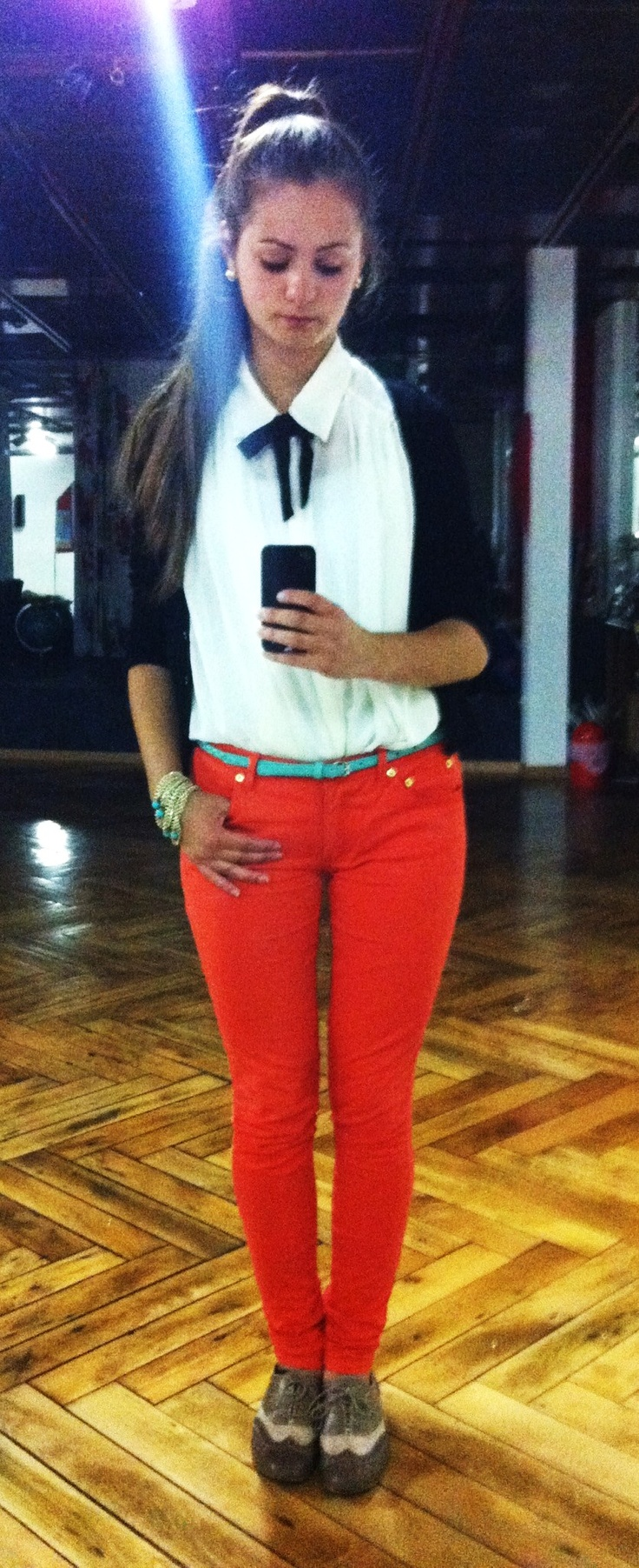 red trousers, white shirt, mint beltRed Trousers, White Shirts, Mint Belts