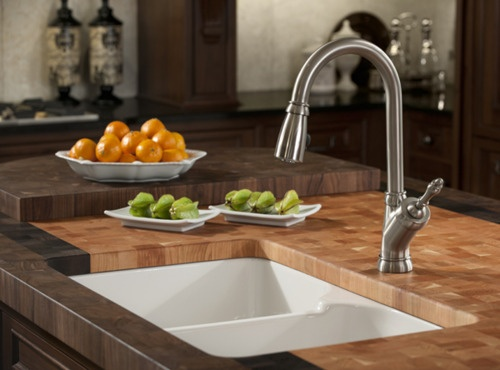 Franke Fireclay Sink By Villeroy Boch Mhk720 31wh And Pull Down Faucet