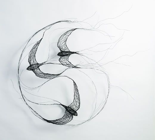 @ Celia Smith:I use wire to create sculptures. Each sculpture that I make is a three-dimensional drawing with the wires representing a quality of line. Birds are my main inspiration; capturing their movement and character is my primary concern. I find that wire has a spontaneity that can give my sculptures a feeling of life and energy.