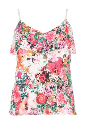 Cream And Coral Floral Print Crop Top- Quiz Clothing