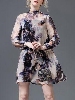 Apricot Silk Long Sleeve Two Piece Mini Dress