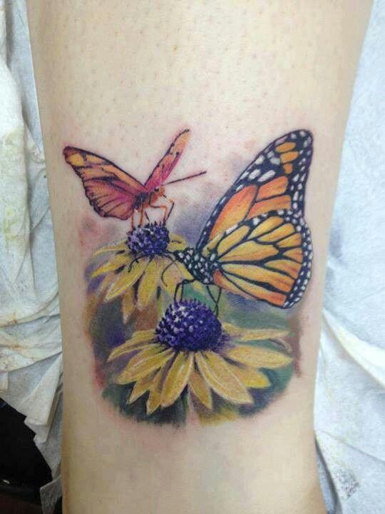 Black-eyed Susans & Monarch Butterflies Tattoo