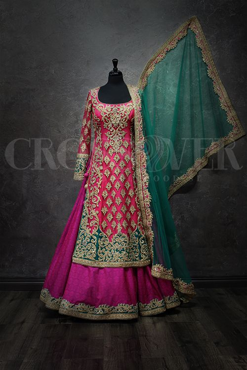 Desirable Cherry – Bridal Lengha – Crossover Bollywood Se