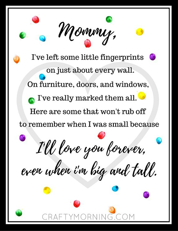 Here's an adorable free Mother's Day fingerprint poem printable for you guys! Just print it off then have the kids dip their fingers in different colored paint. They can stamp it all over the paper and sign their little names…don't forget the date! Mommy will want to remember when this keepsake was made. Mother's Day …