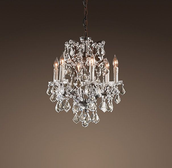 19th c rococo iron crystal chandelier small ceiling for Small crystal chandelier for bedroom