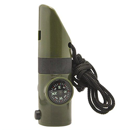 Anpow 7 in 1 emergency survival whistle Magnifying Lens Bright LED flashlight Signal Mirror Compass ThermometerStorage and Lanyard Tool for Camping Hikingoutdoor safety whistle >>> Click on the image for additional details.