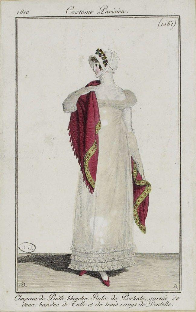 """Costume Parisien (1061), 1810. """"Chapeau de Paille blanche. Robe de Perkale, garnie de deux bandes de Tulle et de trois rangs de Dentelle."""""""