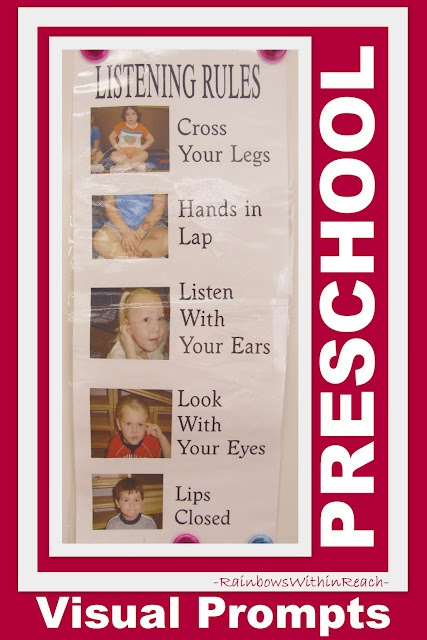 Visual Cues/Visusal Prompts -  Set of Listening Rules for Preschool Circle Time (photographs help children understand the rules better)