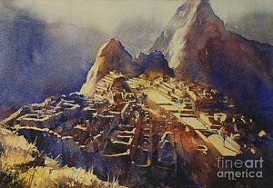 Peru Painting - Watercolor Painting Machu Picchu Peru by Ryan Fox