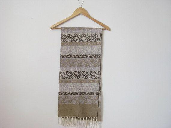 Unisex beige scarf with tassles winter scarf 80s by EcoCentrik