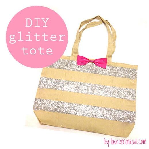 Glitter Striped Bow Tote by Lauren Conrad