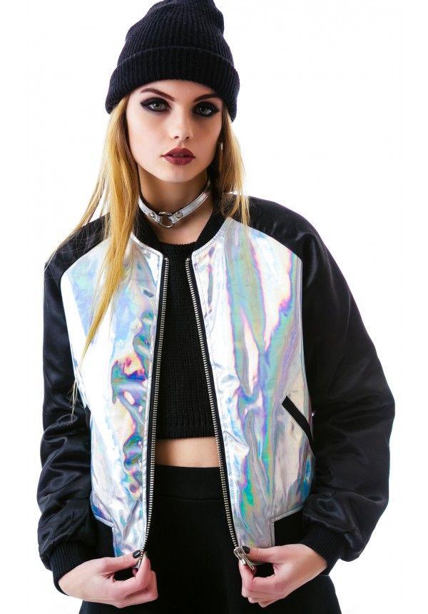 UNIF Holo Bomber Jacket (http://www.dollskill.com/unif-holo-bomber-jacket.html) #holographic #bomberjacket #dollskill