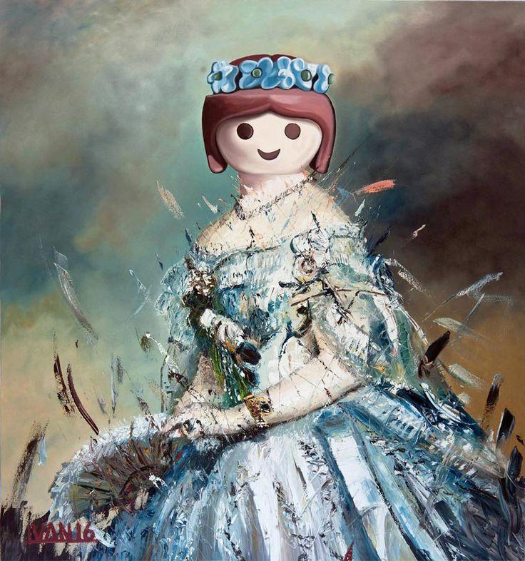 Pinturas de Reyes y Reinas con Cabezas de Juguetes Plásticos