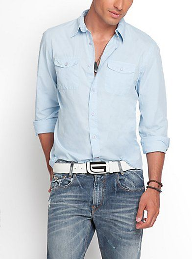 Logan Long-Sleeve Classic Two-Pocket Shirt | GUESS.com