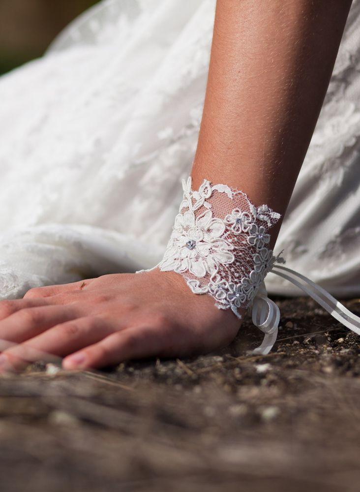 bracelet de mariée dentelle chic orchidée de soie
