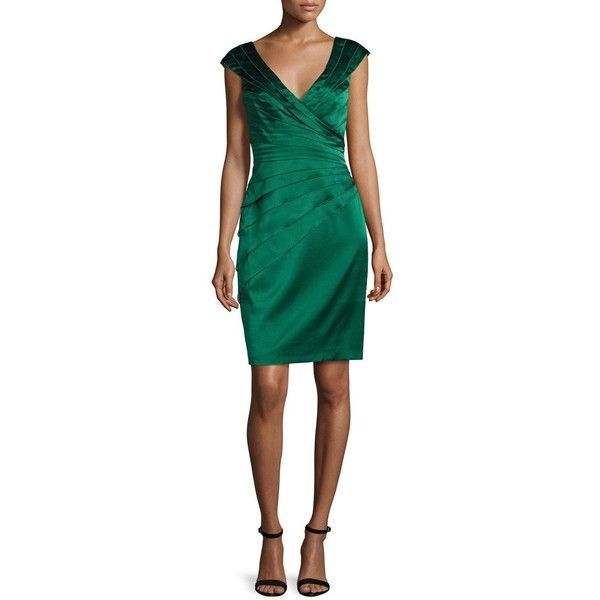 Kay Unger New York Cap-Sleeve Tiered Stretch Satin Cocktail Dress found on Polyvore featuring polyvore, women's fashion, clothing, dresses, ivy, cap sleeve cocktail dress, ruching dress, cross over dress, tiered cocktail dress and cap sleeve dress