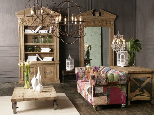 Gyro Chandeliers, Bensington 3 Seater in Vintage Velvet and The Salvage Collection