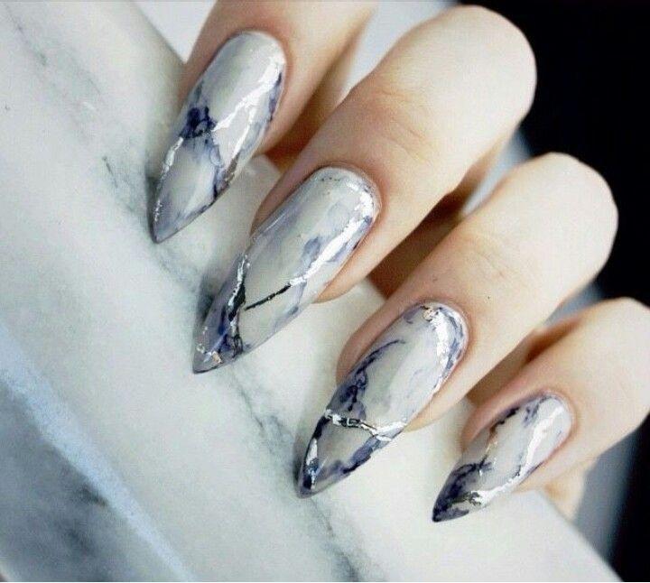 Marble Stone Stiletto Acrylic Nails