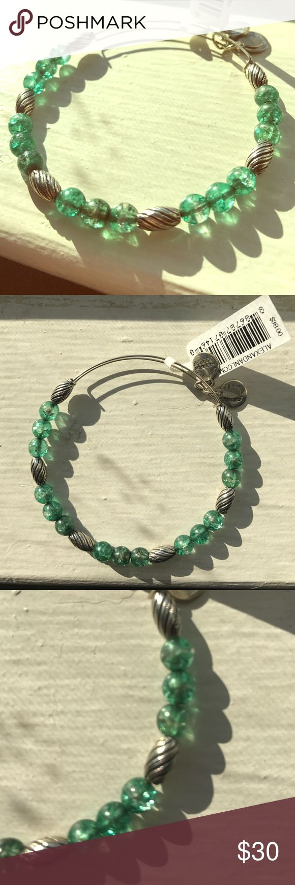 NWT Alex & Ani Watercolor beaded bangle in Fern. NWT! Retired, mixed beaded bangle. Gorgeous green beads. Expandable. Includes meaning card and pouch. Alex & Ani Jewelry Bracelets