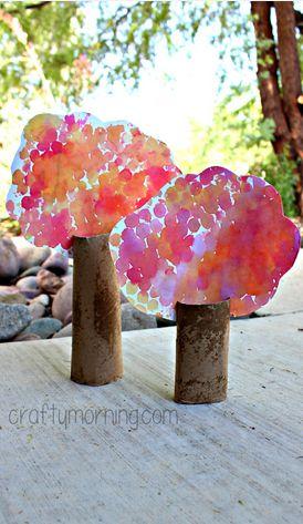 Bubble Wrap Watercolor Cardboard Tube Tree Craft - Crafty Morning