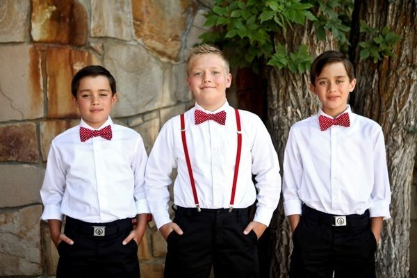 Red and Black Retro Polka Dot Wedding | Ushers in Red Polka Dot Bow Ties | Logan Walker Photography