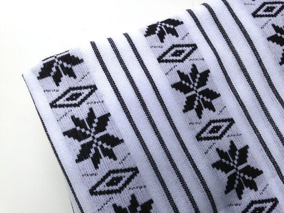 Aztec Fabric - Black and White - Mexican Tribal Pattern -  Cambaya - One Yard