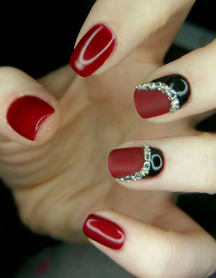 Red and black shine and matt gel nails with diamantés