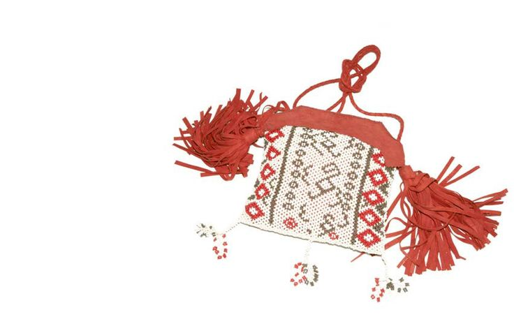 Beads bag with leather tassels