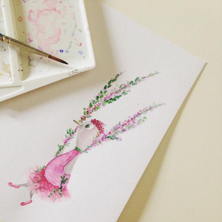 Tilín-Talan #pajarraco #ilustración #dibujo #color #rosa #verde #pajaro #columpio #acuarela #pincel #bird #ilustration #draw #tutu #tutuskirt #ballerina #pink #green #swing #watercolor #watercolour #brush #colour #colorful #extraBold #extraBoldcreativestudio