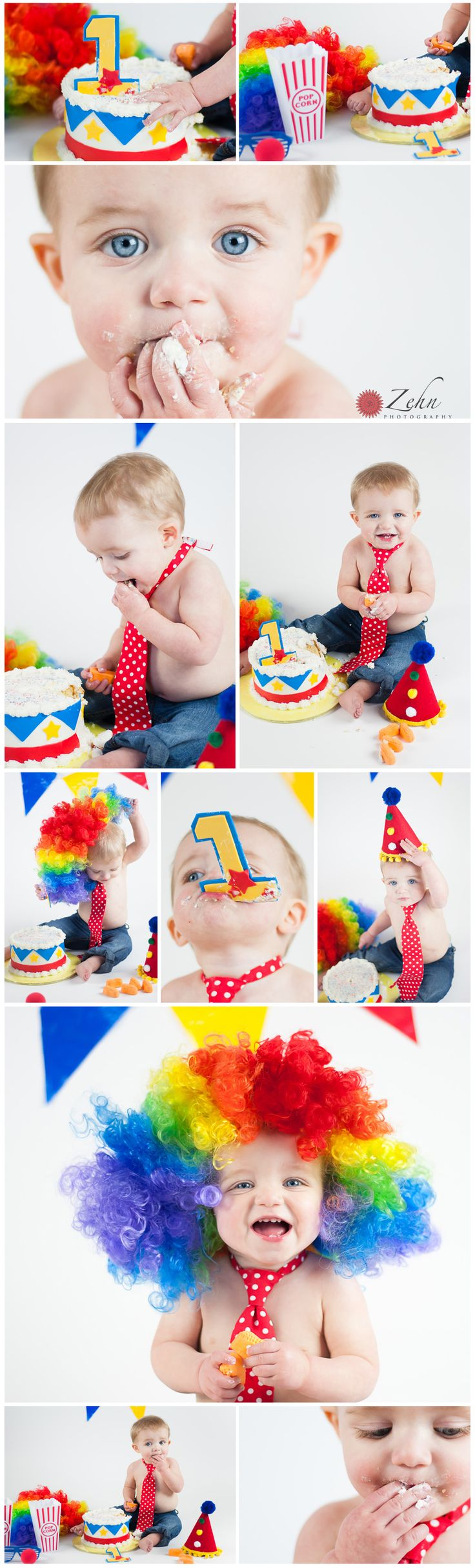Adorable Circus themed cake smash session! www.zehnphotography.com Cake Smash idea, clown, circus theme, colorful photo session