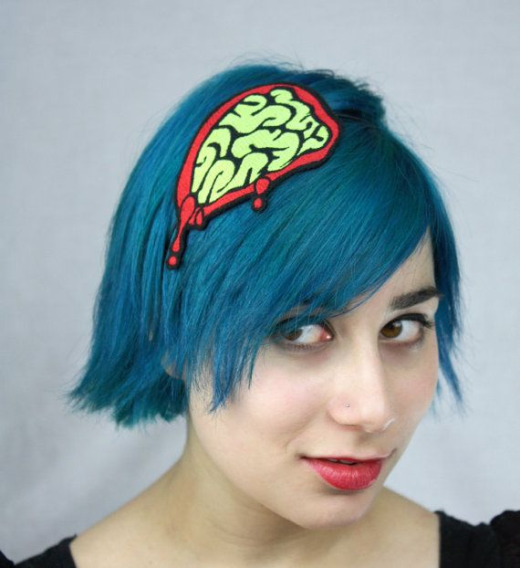 Zombie brains headband - check out JanineBasil on Etsy for LOTS more cute and nerdy items!