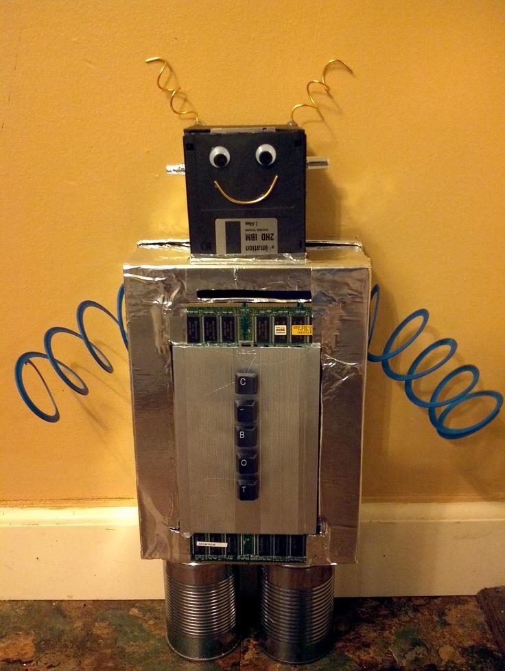 Robot Valentine Box Silver Metal Tape Leftover Computer