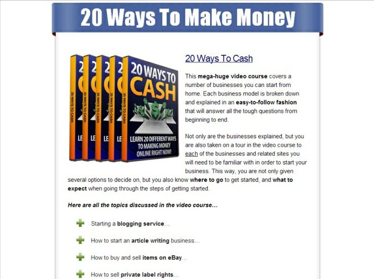 20 Ways To Make Money. Follow link for more info: http://smb06.com/make-money-online-20-ways-to-make-money-online #makemoneyonline