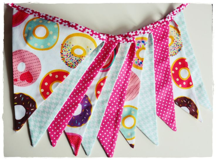 Doughnut Girl Garland, Bunting Banner, Girl Nursery Decor, Photo Prop, Fabric Flags -pink minty doughnut  checked dots by MadamMirabell on Etsy
