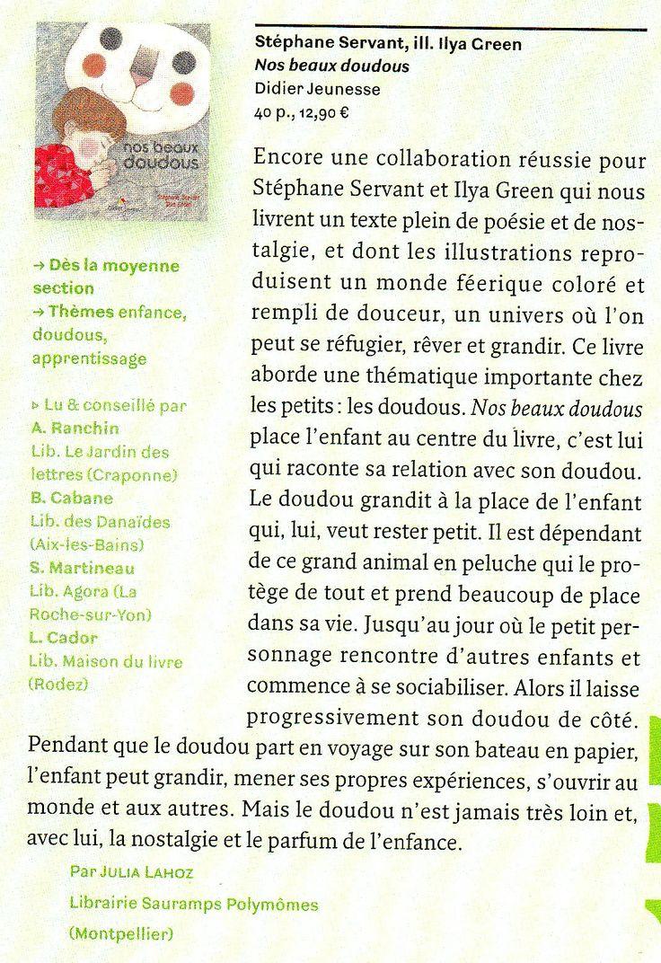 Article sur nos Beaux Doudous de Stéphane Servant illustré par Ilya Green. Page 161