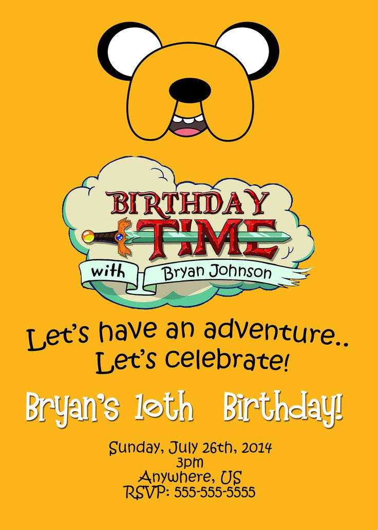 7 best Adventure Time Birthday Invitations and party supplies images ...