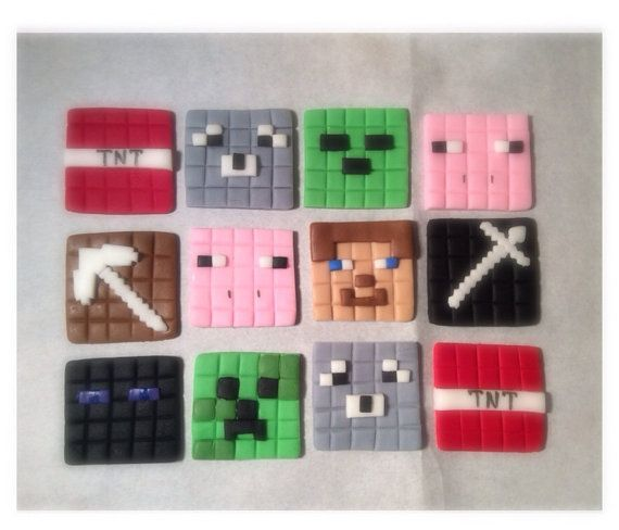 Minecraft Cupcake Toppers 1 Dozen by ToppersbyAlma on Etsy