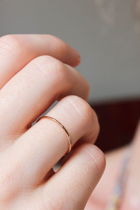 Solid 14k rose gold skinny stacking ring, hammered, solid rose gold band, thin rose gold ring, pink gold, size 9.25 to 13