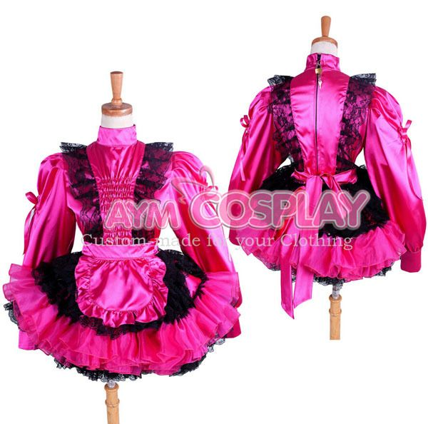 New Arrival Custom made Sissy Maid Rose Red Satin Lace Dress Lockable Lolita Cosplay Costume #Affiliate