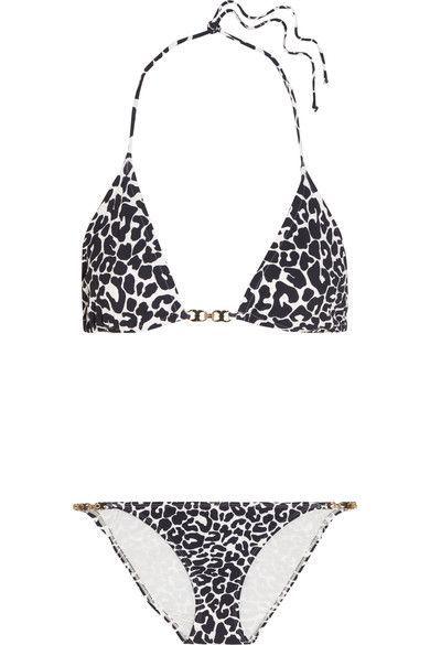 Tory Burch - Leopard-print Triangle Bikini - Navy