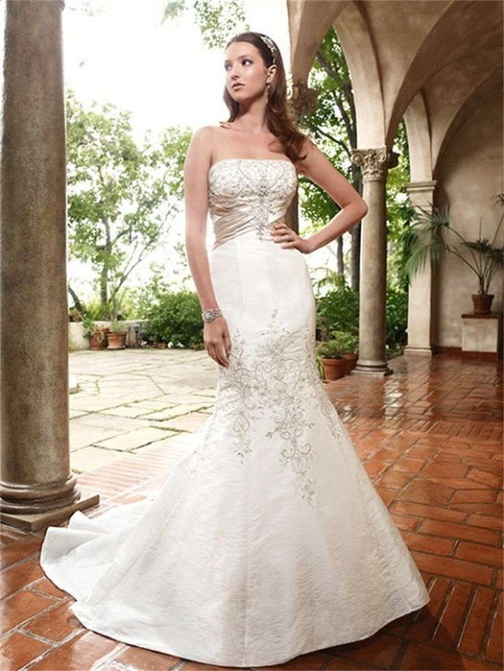 Superb Click to Buy uc uc Fast Shipping Mermaid Wedding Dress Strapless Embroidery Bridal ue ue