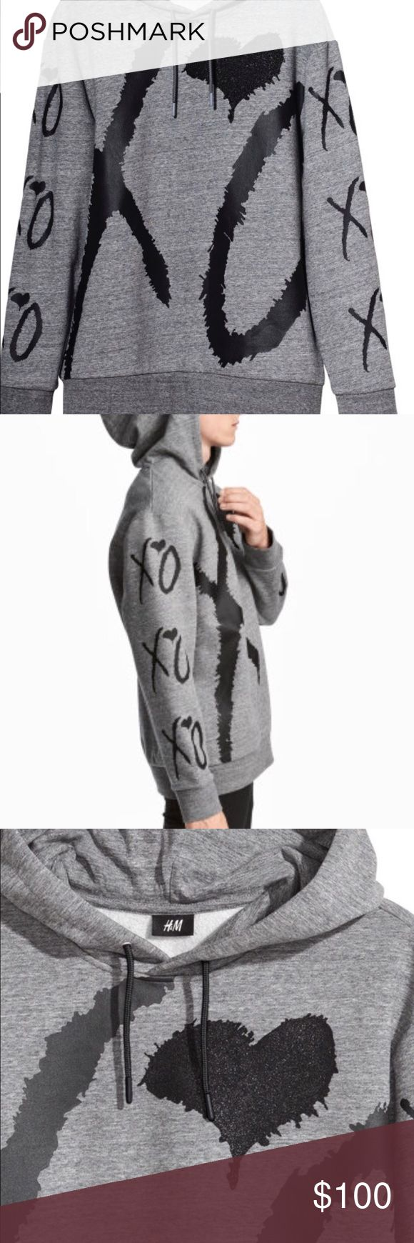 The Weeknd H&M XO grey gray hoodie medium SOLD OUT H&M The Weeknd x collection XO grey gray hoodie sweatshirt medium M SOLD OUT  NEW WITH TAGS Relaxed fit H&M Shirts Sweatshirts & Hoodies