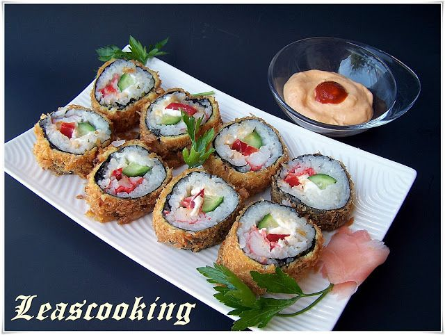 Easy Fried Sushi Recipe  Just cooked the sushi rice without adding the other ingredients. Used avocado, imitation crab, cream cheese, green onion as stuffing. Made eel sauce: sugar and soy. And the spicy mayo to put on top. Excellent!