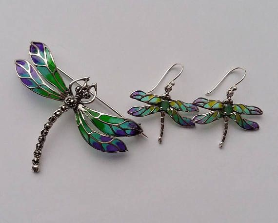 Blue Dragonfly Brooch Sterling Silver Silver Dragonfly Brooch Dragonfly Jewelry Stained Glass Silver Brooch Gift Idea Marcasite
