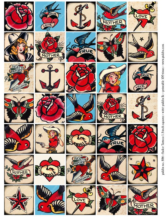 Vintage Tattoo Designs Sailor Jerry Tattoo Flash Digital by piddix